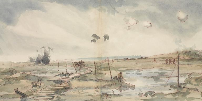 Panoramic view of the battlefield leading towards Passchendaele, August 1917