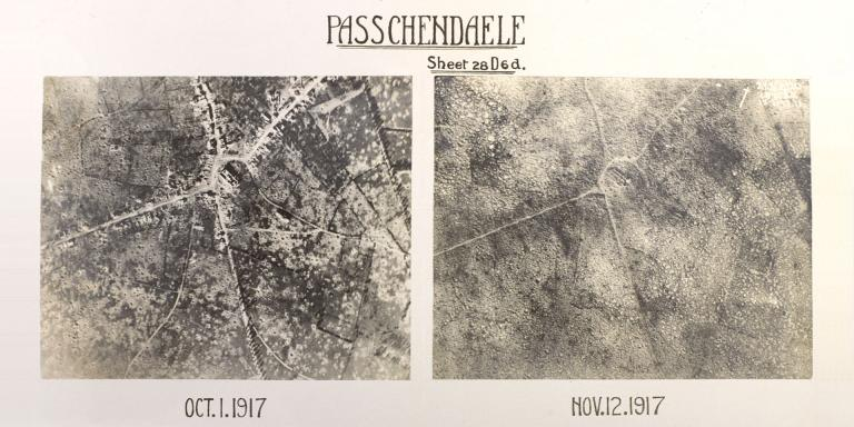 Comparative aerial photographs of Passchendaele, 1 October and 12 November 1917