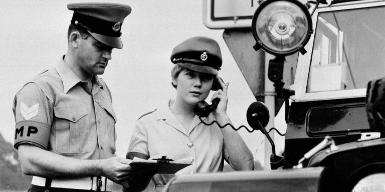 A WRAC military policewoman on duty in Germany, c1970
