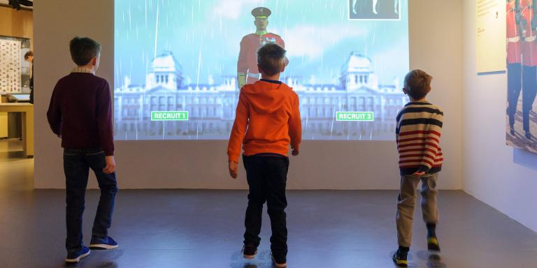 Children with the marching interactive in Soldier gallery