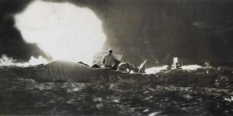 British 25-pounder guns fire on enemy positions the night before the main attack, 23 October 1942