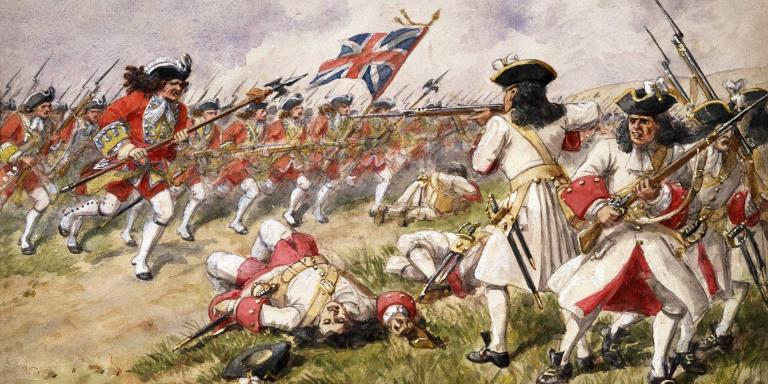 The 16th Foot charging French infantry at Ramifies, 1706