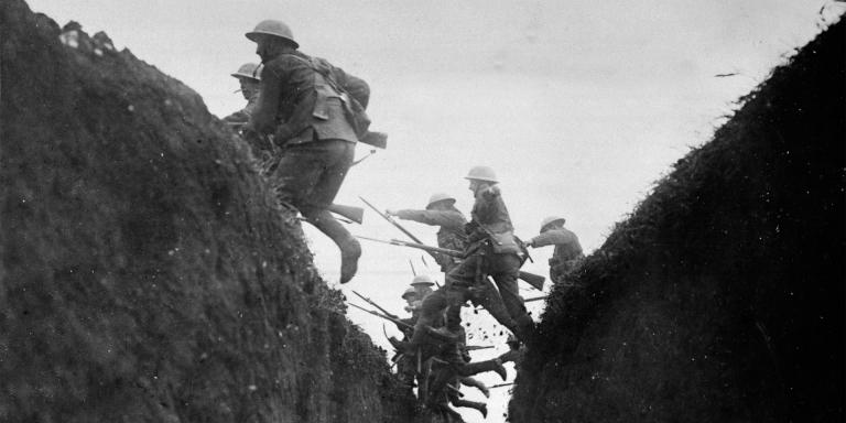 Troops in training jumping over trench, c1916