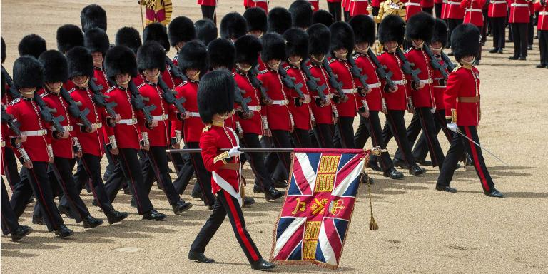 The Colours of the Welsh Guards being paraded at Horse Guards, 2015