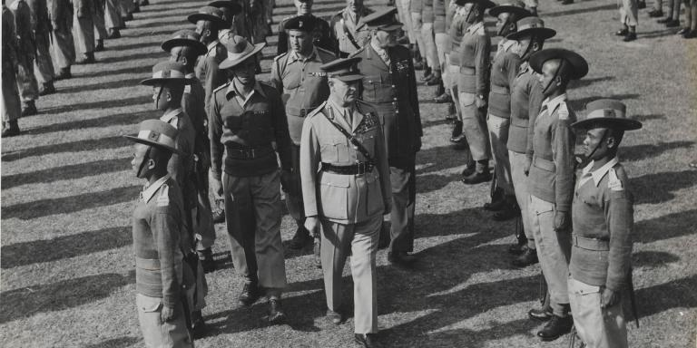 Field Marshal Lord Wavell, the Viceroy of India, inspecting 8th Gurkha Rifles, December 1945