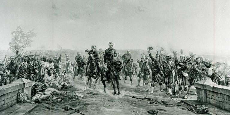 'After the Battle of Tel-el-Kebir - General Wolseley cheered by Highlanders', 1882