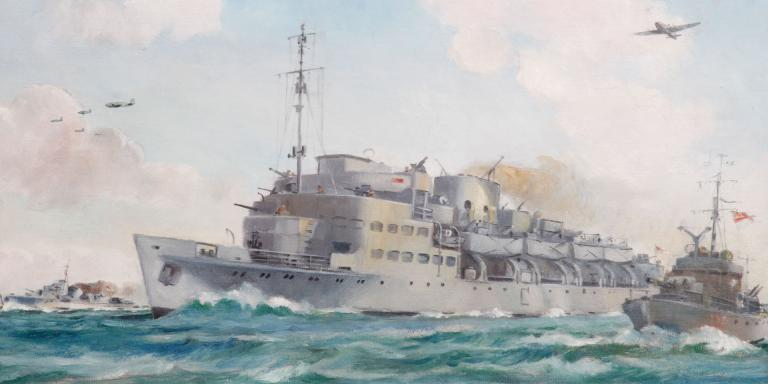 HMS 'Prins Albert' en route to Dieppe carrying No 4 Commando, August 1942
