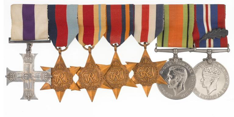 Military Cross group awarded to Lieutenant John Groom for covert reconnaissance of mines and obstacles during Operation Tarbrush, 16-17 May 1944