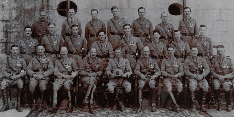 The Prince of Wales, Colonel-in-Chief, and officers of 1st Battalion The Prince of Wales's Leinster Regiment (Royal Canadians), Madras, 1922