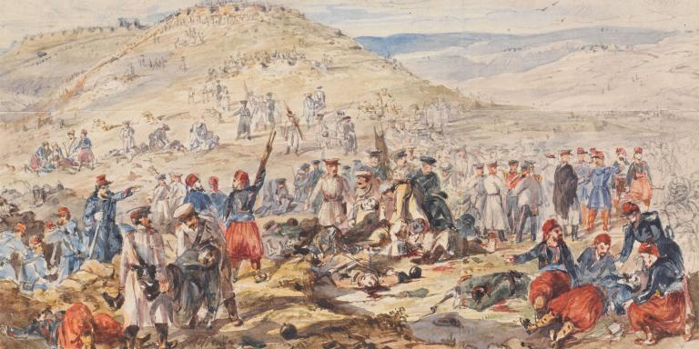 'Truce for burial of the dead before Sebastopol 24th March 1855', watercolour and pencil by Henry Wilkinson