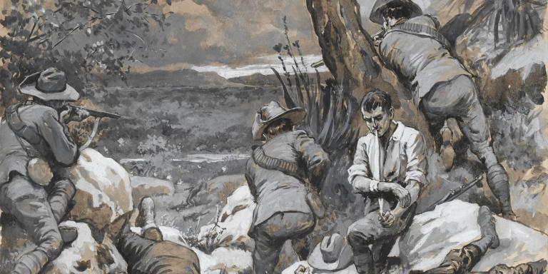 The Boer Attack on Caesar's Camp: A Hot Corner with the Border Mounted Rifles, 1900. Watercolour by Gordon Frederick Browne  'special' artist for 'The Graphic'