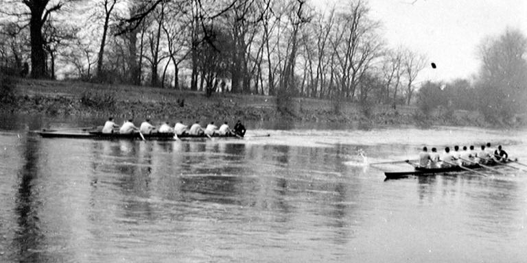 A boat race on the Thames, c1938
