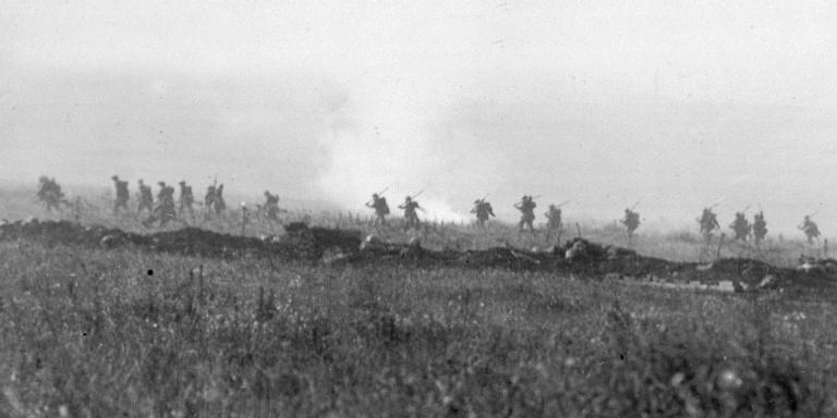 Infantry advance on the first day of the Somme, 1 July 1916