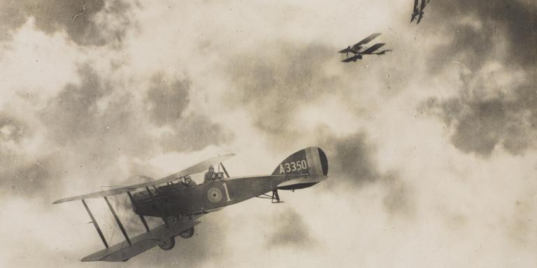 A Bristol F2 fighter of the Royal Flying Corps in an air battle, 1917