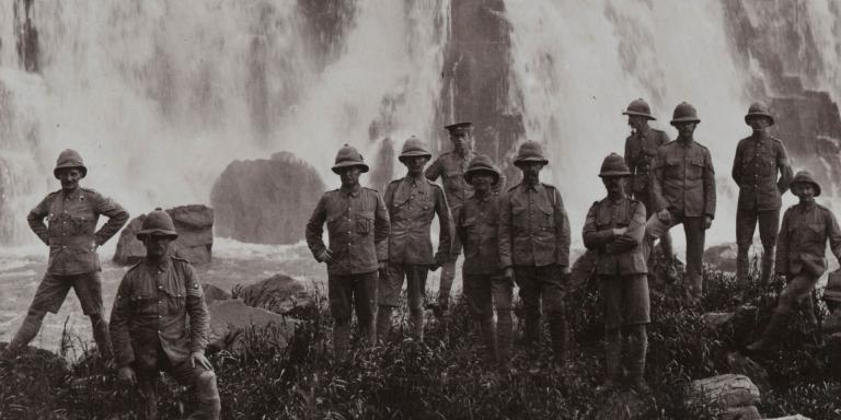 British troops refresh themselves at a waterfall, West Africa, 1915