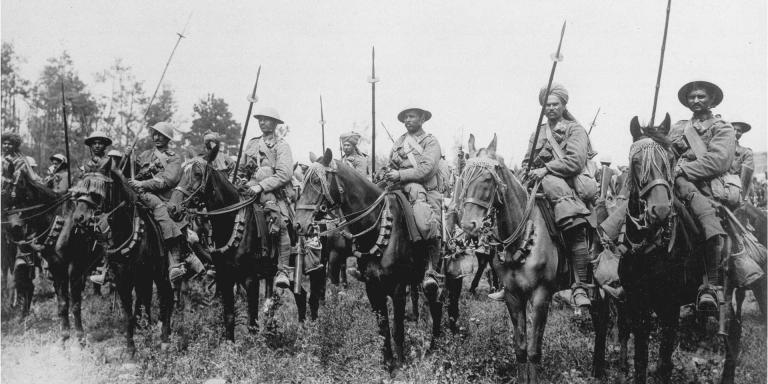 Indian cavalry await the order to advance on the Somme, 14 July 1916
