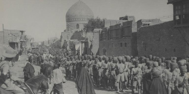 Indian troops in New Street, Baghdad, 11 March 1917