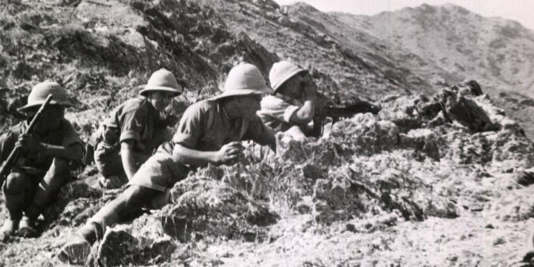Men of 2nd Battalion The Highland Light Infantry fighting on the North West Frontier, 1935