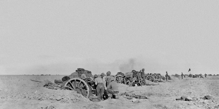 An 18-pounder battery in action at Battle of Shaik Saad, 7 January 1916