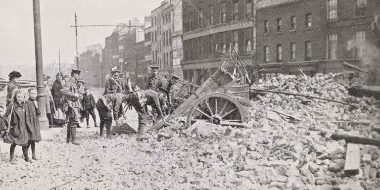 Clearing barricades in Church Street, May 1916
