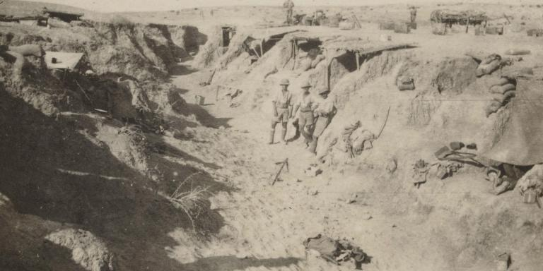 British troops in a captured wadi, part of the Turkish defences, 1917