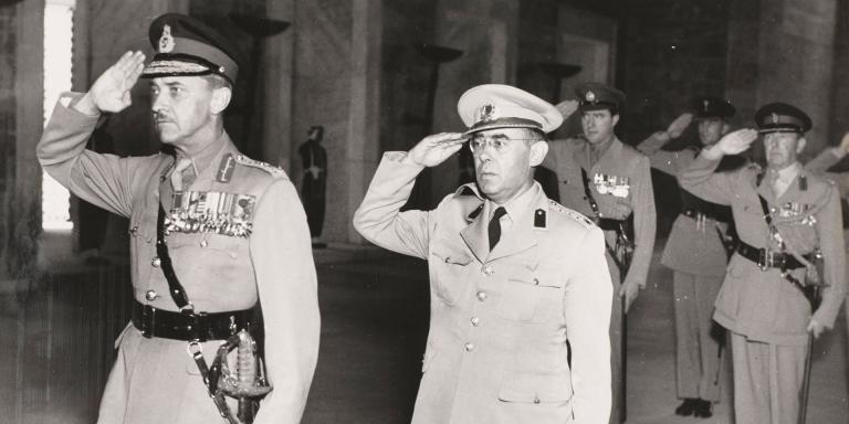 Field Marshal Gerald Templer (left) during a visit to Turkey, 1956