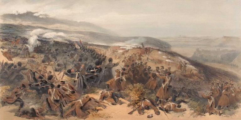 The Guards taking a Russian battery at Inkerman, November 1854