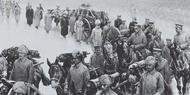 Indian troops preceding the coffin of Field Marshal Lord Roberts, November 1914