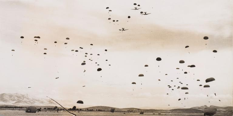 British paratroopers dropping onto an airfield near Athens, 1944