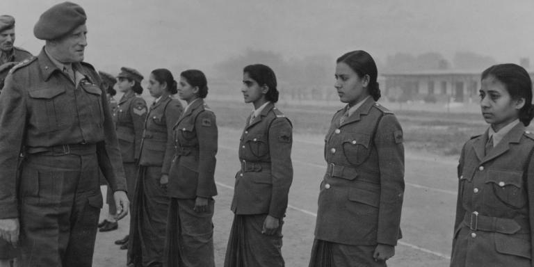 Field Marshal Sir Claude Auchinleck Inspecting Members of the Women's Auxiliary Corps (India), 1947