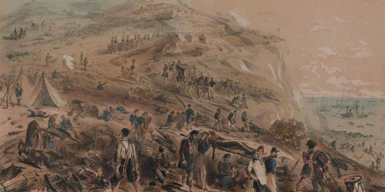 Clearing casualties from the battlefield of the Alma, 1854