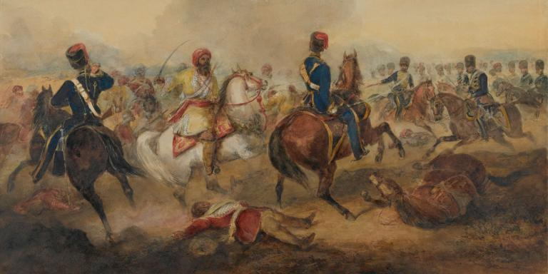 7th (Queen's Own), Hussars, charging mutineer cavalry, 1858