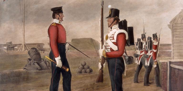 Major Thomas Egerton and a sentry of the 77th (The East Middlesex) Regiment, on the King's Bastion, Portsmouth, 1849