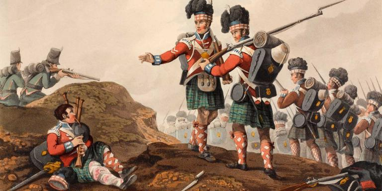 A wounded piper of the 71st piping the Highlanders into battle at Vimerio, 1808