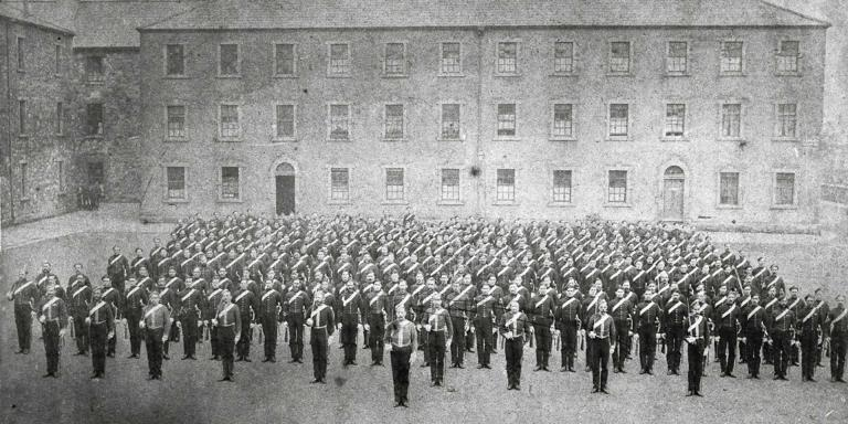 6th (Inniskilling) Dragoons drawn up for dismounted parade at the Royal Barracks, Dublin, 1875