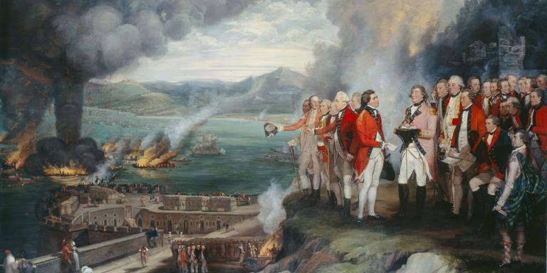 General Augustus Eliott and his officers observing the destruction of the floating batteries, Gibraltar, 1782