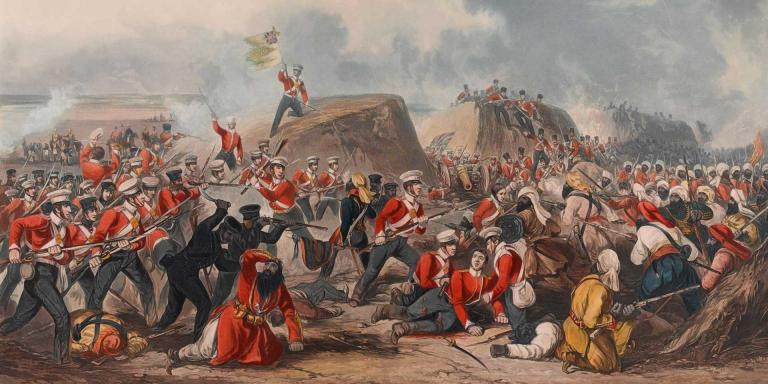 The 31st (Huntingdonshire) and 50th (Queen's Own) Regiments advancing at Sobraon, 1846