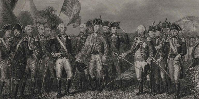 The British surrender at Yorktown, 1781