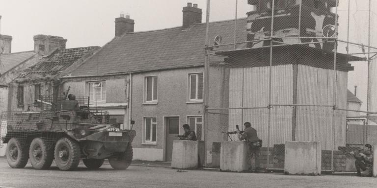 Troops of 1st Battalion The Worcestershire and Sherwood Foresters Regiment, Crossmaglen, 1977