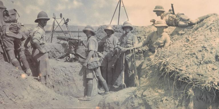 Soldiers from The Royal Sussex Regiment man a hill top post on the North West Frontier, 1919