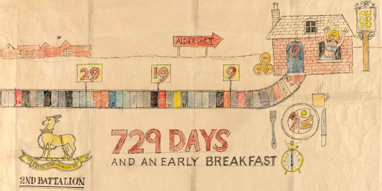 729 Days and an Early Breakfast. A National Service Demob countdown calendar' by Sergeant Robin Ollington, 1948