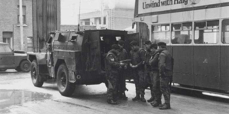 Soldiers of The Royal Regiment of Wales preparing for a patrol in the Ardoyne area of Belfast, 1972
