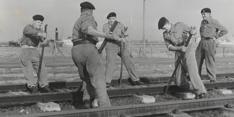 Members of the Royal Pioneer Corps undertaking railway maintenance, c1960