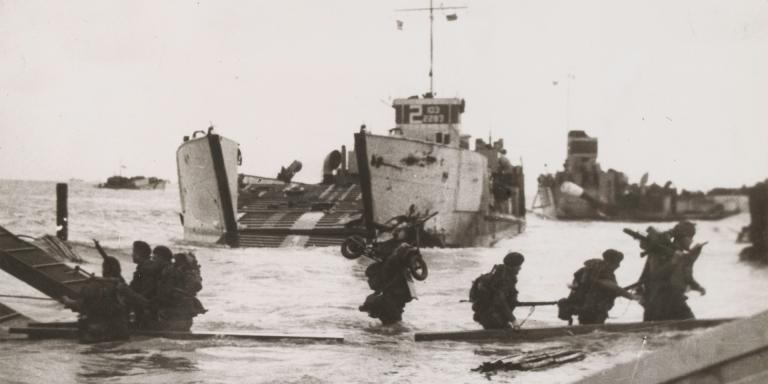 Troops disembarking from a landing craft, 6 June 1944