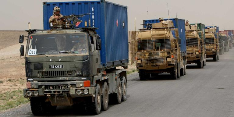 A supply convoy bound for Forward Operating Bases Nolay, Gibraltar and Sangin, Helmand, Afghanistan, 2009