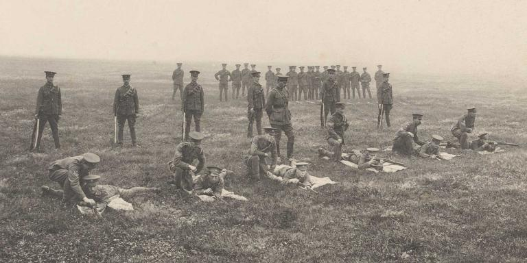 5th (Royal Irish) Lancers' recruits musketry training at Aldershot, 1907