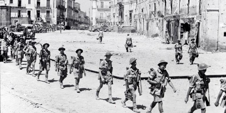 5th Battalion The Northamptonshire Regiment entering Adrano, Sicily, August 1943