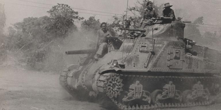 An M3 medium General Lee tank in action during the Burma campaign, 1944