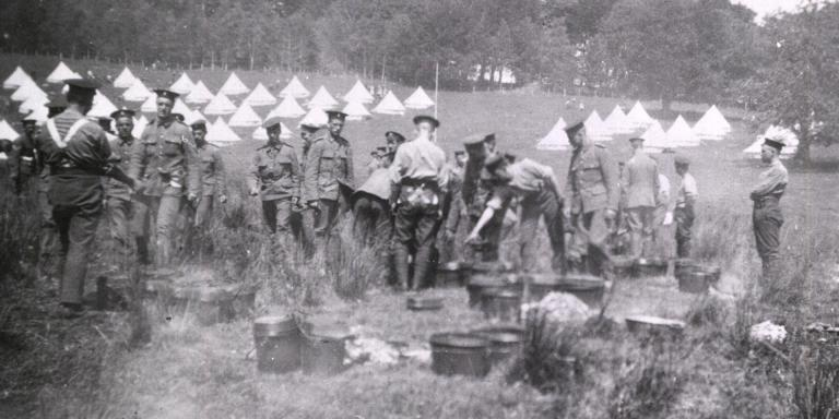 The 1st Royal Irish Fusiliers cooking at Belterbet camp in Ireland, 1908