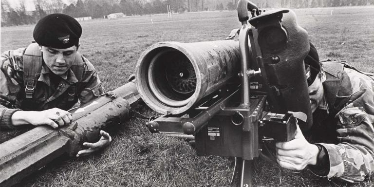 Members of The Duke of Edinburgh's Royal Regiment with a Milan Anti-tank missile, 1980
